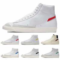2019 Blazer Mid 77 Ayakkabı Lucid Yeşil Yelken Beyaz Chicago ve Toronto Tuval Pasifik Mavi Habanero Kırmızı ayakkabılar Boyut 36-44