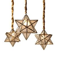 droplights de cobre cheio de ouro candelabro luxuoso estilo Amrican fosco quarto iluminação foyer lampshad vidro pendurar luz E27 lâmpada
