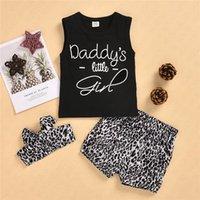 Hairband Kafa bandı Wrap Eşofman Bebekler Bebek Leopard ile 3 Adet Çocuk Kız Yaz Şort Takımı Şort Spor Casual Suit D62312 yazdır