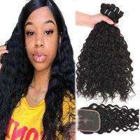 9A бразильские девственные волосы плетения воды вьющиеся вьющиеся глубокие свободные необработанные человеческие наращивания волос 3 пучка с кружевной закрытием волос.