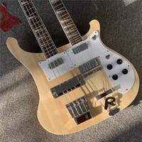 Spedizione gratuita Factory Natural Wood Color Double Neck Electric Bass e Chitarra, 4 + 12 corde, hardware cromato, pickguard bianco, offerta personalizzata