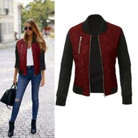 Autunno Inverno per il tempo libero Moda Solid Jacket donna O-Collo Zipper Stitching Quilted bomber 2019 New Women Coats