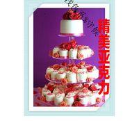 유럽의 네 가지 수준의 아크릴 컵 케이크 스탠드 아크릴 웨딩 케이크 랙 생일 연회 컵 케이크 장식 스낵 제품을 입력