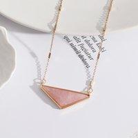 Triangle bleu rose quartz Collier turquoise Collier en pierre naturelle Marque Gold plaqué or pour femme Bijoux cadeau