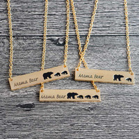Mama Bear Tag Gravé Animal Pendentif Collier Or Argent Mère Enfants Amour Collier Simple Mode Parent Collier