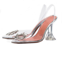 Women Pointed Toe Crystal Rhinestones Bling Clear Transparent Stilettos High Heel Slingbacks Ankle Buckle Jelly Shoes Pumps A248