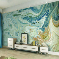 De Foto pared de papel 3D Modelo abstracto azul Mármol La televisión de fondo de pared del papel pintado para la sala de estar Cocina Decoración