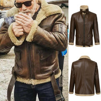 Mens Retro Fur Jacket Stand Collar Zipper PU Leather Warm Co...