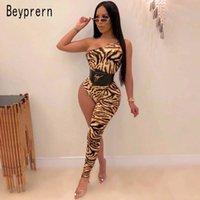 حللا المرأة السروال القصير beyperern النمر الجلد مطبوعة واحدة أرجل بذلة إمرأة مثير الكتف الجسم وزرة بالجملة