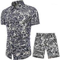 Camicie Pantaloncamere Abbigliamento Set di abbigliamento 2 pz Tracksuiti floreali Mens Designer Summer Suits Beach Seaside Holiday