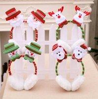 De Noël Mignon Oreilles D'hiver oreille garder Au Chaud Coton Oreille Manchons 3D Santa bonhomme de neige renne imprimé vacances partie bandeaux chapeaux WY195Q