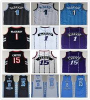 College Basketball Tracy 1 McGrady Maillot Rétro Bleu Blanc Noir Pourpre Vince 15 Carter Maillots North Carolina Tar Heels Chemises High School