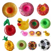 Новый PVC надувные напитки чашки чашки 15 стилей пончик арбуз ананасовый лимон в форме лимона с плавающим ковриком плавучий бассейн игрушки