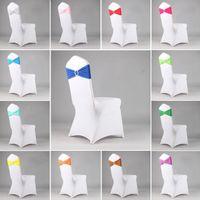 La silla del estiramiento posterior colorida del aro del arco libre para la boda del Bowknot Festival elástico banquetes Fuentes del partido cubierta decoración Hotel 16 Colores