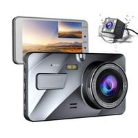 """4 """"داش IPS المزدوج للسيارات عدسة كاميرا 1080P FHD لوحة كاميرا 170 درجة مركبة تسير DVR مسجل G-وقوف السيارات الاستشعار مراقب WDR A1"""