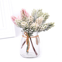 6pcs / ramo de flores artificiales Hierba Piña planta falsa para la boda decoración de la Navidad arte de DIY Decoración de la guirnalda de álbum de recortes