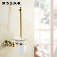 Casa in stile d'oro europea Brass Holder cristallo Scopino, placcato oro scopino da bagno prodotti da bagno Accessori Y200407
