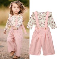 Automne Toddler Enfant Bébé Fille Vêtements Set Princesse À Manches Longues Floral Top Bib Sangle Jarretelles Combinaison Pantalon Culotte 2Pcs Outfit