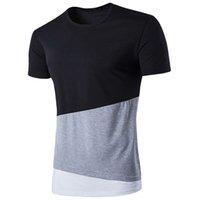 T-shirt de coutures pour hommes Noir et blanc Couture tri-couleur gris Couture ronde T-shirt à col rond de la mode Avant-garde Trend Loisirs 2019 Nouveau