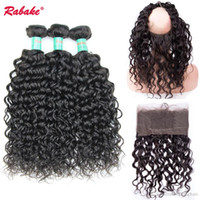 Brazilian 8A Unprocessed Water Wave 360 Lace Frontal with Bu...