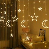 2.5m 138 LED Moon Star Fairy Light Christmas Tenda per vacanze Tenda Luci Garland LED String Light per la finestra di nozze Decorazione della festa di casa