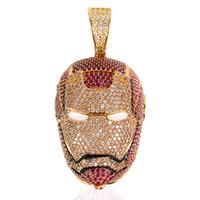 Gold 24K Iced Out Big Iron Men Halskette Micro Gepflasterte KubikZircon Charm Bling Bling Hip Hop Schmuck