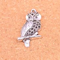 DIY El Yapımı Tibet Gümüş Takıları 41 * 22mm yapma Antik Gümüş Kaplama Kolye baykuş 34pcs Charms