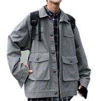 Осень Новая Куртка Мужская Мода Сплошной Цвет Повседневная Хлопок Multi-Pocket Tooling Куртка Человек Уличная Одежда Хип-Хоп Свободная Бомбардировочная Куртка Размер M-2XL
