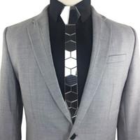 Forma GEOMETIE hecha a mano geométrica hexagonal flaco de nido de abeja corbata Negro Titanio Moda brillante espejo de acrílico corbata corbata