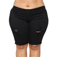 Feitong المرأة عارضة الجينز مرونة زائد فضفاضة الدنيم متوسطة قطع بانت جينز أسود جان ستايل saia زائد الحجم 5xl