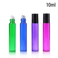 Neue Ankunft Zugrohr 10 ML Glas Roller Ölflaschen Blau Lila Grün Rot 10 ml Rolle Auf Flaschen Aromatherapie Duft 1100 Stücke