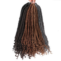 20inch Богиня Поддельный Locs вязания плетенки Природные синтетические выдвижения волос 18stands / пакет Поддельный Locs с фигурными Концы