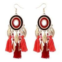 유럽과 미국의 패션 보헤미안 디스크 잎 양모 술의 귀걸이 뜨거운 귀 보석 도매