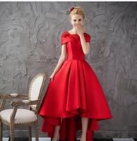 빨간색 짧은 homecoming 드레스 깎아 지른 목 뚜껑 소매 아플리케 레이스 새틴 맞춤형 높은 저 파티 드레스
