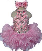 Vestidos hermosos del desfile de las muchachas Vestidos de cristal de la joya del halter Mini vestido corto de la muchacha de flor para la boda