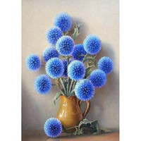 Blue dandelion, flower, 5D diamond painting Christmas decora...