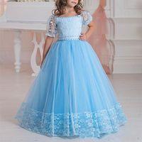 Azul Flor Meninas Vestidos Ombro Meia Mangas Lace Appliques Uma Linha Crianças Vestido Formal Vestuário formal Lace Up Girls Pageant Dress