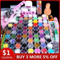 78pcs Nail Acrylic Powder Glitter Manicure Set för Nail Art Kit Gems Dekoration Kristall Rhinestone Brush Tools Kit för manikyr