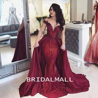 ombro Borgonha lantejoulas sereia Vestidos Off elegante formal do partido Pageant Vestidos Appliqued cetim Longo Prom Dress Robes de soirée