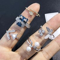 Open Cuff Rings Japanese Korean style Wholesales Rhinestone ...