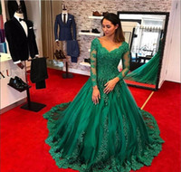 Formal Emerald Green Dresses Evening Wear 2019 Long Sleeve L...