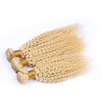 Blonde Color Kinky Curly Virgin Human Hair Weves Extensions 3Pcs Blonde 613 Afro Curly 100% Human Hair Wefts 3Bundles lot