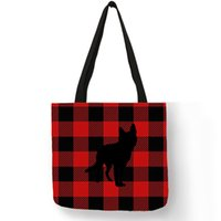 Classic Grid Series Women Tote Bag Husky Dog Silhouette Prin...