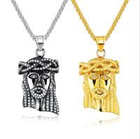 Hip Hop Oro Colore Gesù pezzo testa di fronte pendenti di collane della catena di titanio Collier per Men Jewelry Christian