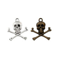 100 stks / partij Piraat Skull Charms Hangers Lichtmetalen Sieraden DIY Fit Armbanden Ketting Oorbellen Antiek Zilver / Brons 21 * 24 MM A-335