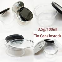 주석 캔 식품 포장 알루미늄 투명 플라스틱 건조 허브 병 블랙 OEM 레이블 3.5 g 냄새가 높은 농축 물 컨테이너 PE-lid instock