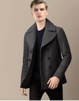 Sur mesure Hiver Hommes Laine laine Blending-vêtement TURN-Col manches longues à double boutonnage court Design Manteau Marine