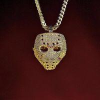Máscara helada Vintage collar colgante con cadena de oro moda Hip Hop joyería Cubic Zirconia collar para hombre