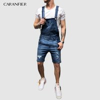 Jeans pour hommes Siamois Strap Old Denim Workwear Loose Casual Casual Straight Long Nine Points Strap Siamois Cassé Tear