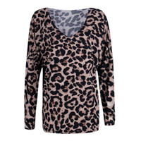 Hirigin Women T-Shirt Spring Autumn Long Sleeve Leopard Print Shirt Casual Tops Loose Pullover Size S-XL